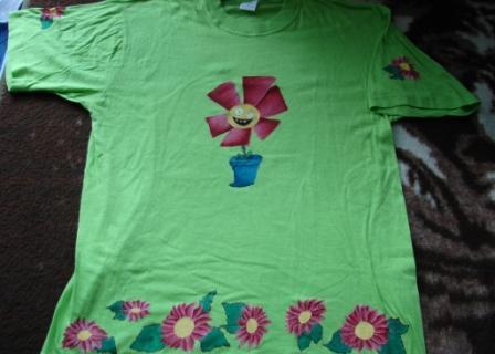 FOTKA - malované tričko - kytičky