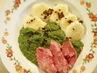 uzené-špenát-bramborový knedlík
