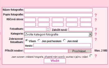 formulář pro vložení fotografie